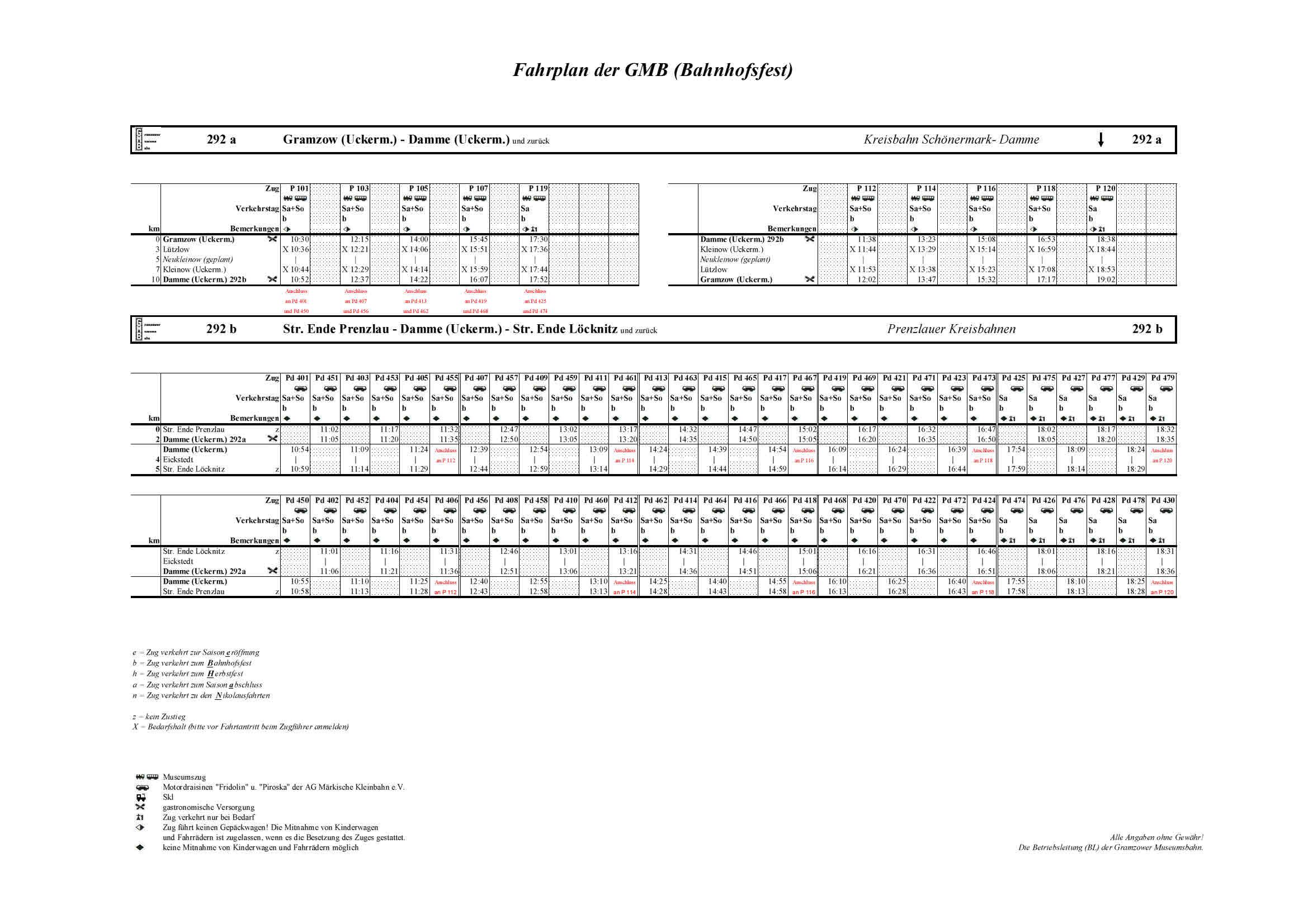 Fahrplan GMB (Bahnhofsfest) KBS 292 a,b