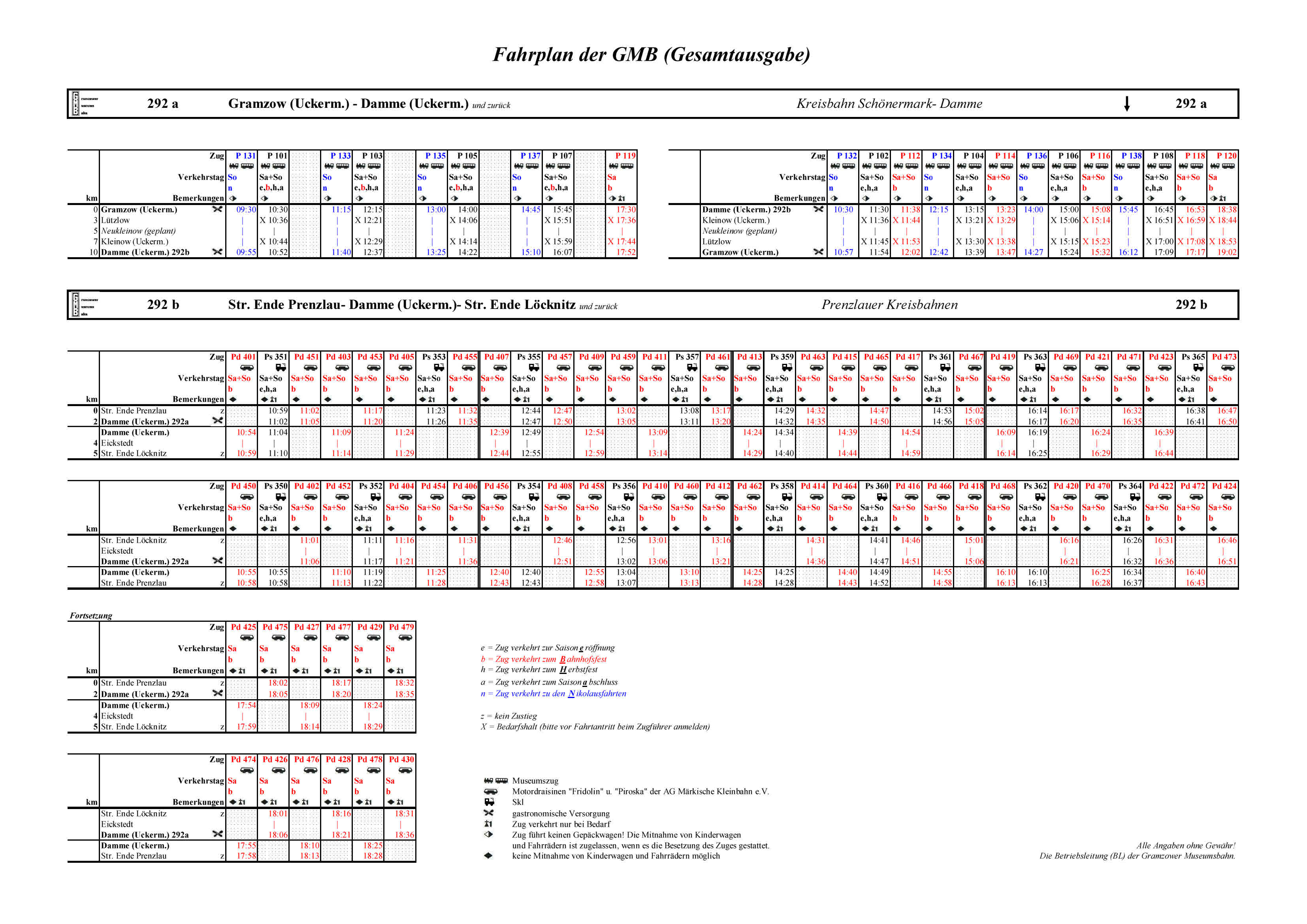 Fahrplan GMB (Gesamtausgabe) KBS 292 a,b